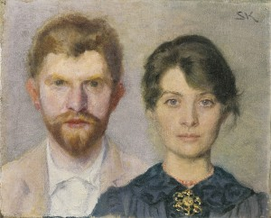 P.S. and Marie Krøyer - double portrait - the couple have portrayed one another. (1890) Skagens Museum.