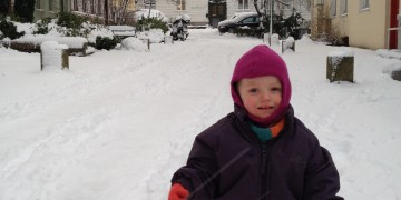 First time in the snow - don't forget the snowsuit. Picture: Private