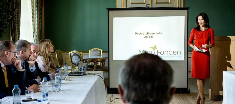 Crown Princess Mary speaks at a board meeting of her charity foundation Mary Fonden.