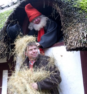 """The old houses are decorated to illustrate the olden days Christmas - here the """"drillenisse"""" - meaning the nisse teasing the peasant until he gave some proper food. Picture: Frilandsmuseet Finn Brasen"""